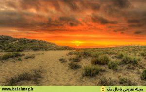 تصاویر غروب زیبا بیابان