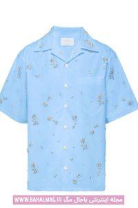 طرح جدید پیراهن مردانه آبی روشن
