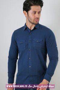 پیراهن آبی رنگ مردانه جدید