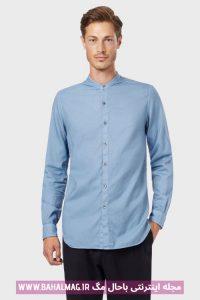 پیراهن آبی مردانه ساده