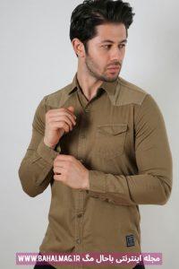 پیراهن جدید مردانه خردلی رنگ