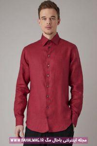 پیراهن مردانه جدید رنگ زرشکی