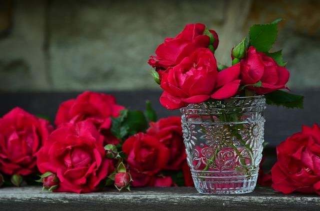 گل قرمز درون شیشه