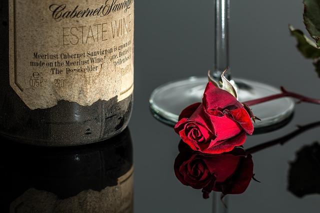 گل قرمز روی شیشه