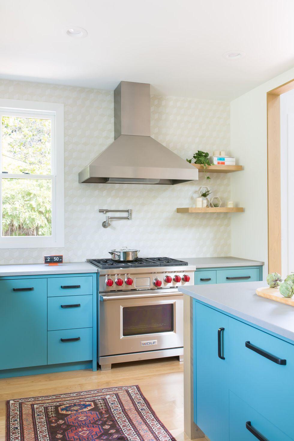 تم رنگ آبی و زیبا برای آشپزخانه