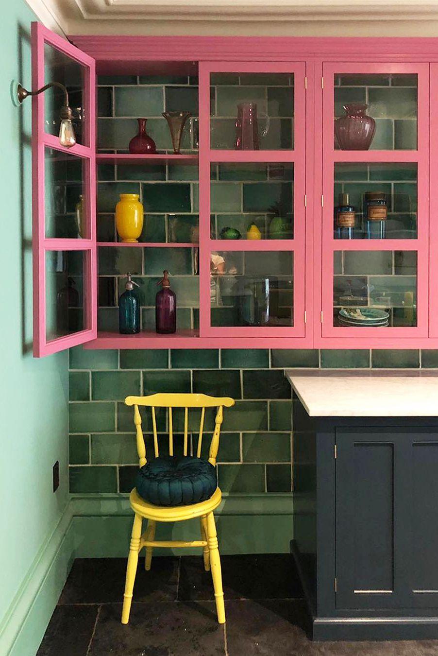 تم زیبای سبز رنگ و صورتی مخصوص آشپزخانه