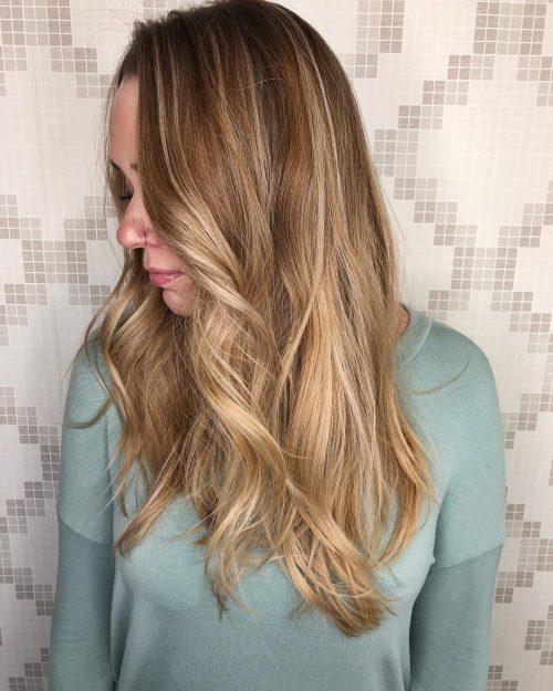رنگ موی قهوه ای روشن با هایلایت 1398