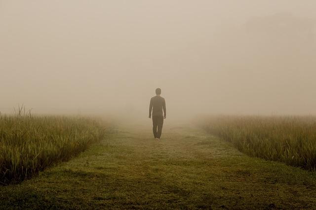 پروفایل پسر در حال قدم زدن در مه