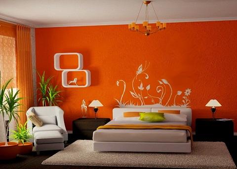 اتاق خواب با دیوار نارنجی رنگ