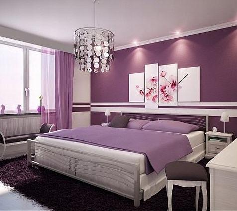اتاق خواب با رنگ بنفش