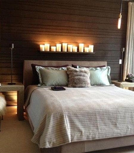 اتاق خواب با طرح قهوه ای و شمع