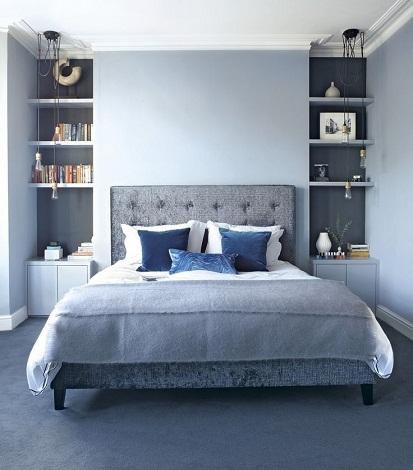 اتاق خواب خاکستری رنگ زیبا