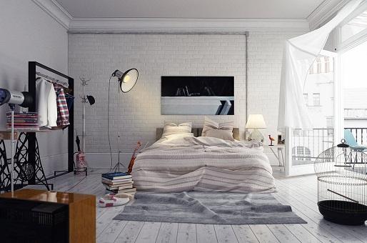 اتاق خواب طرح خاکستری زیبا رنگ