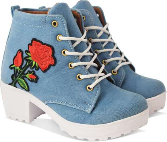 بوت گل دار آبی روشن زنانه و دخترانه