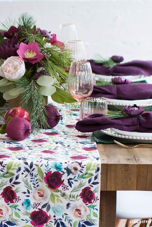 مدل رنگ بنفش مخصوص میز کریسمس