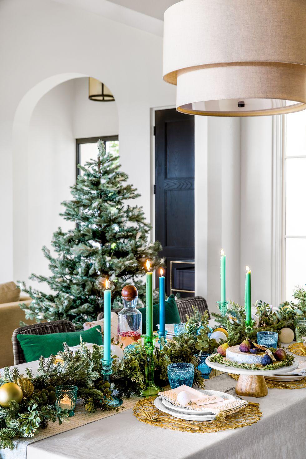 مدل میز کریسمس سبز و آبی و سفید کریسمس