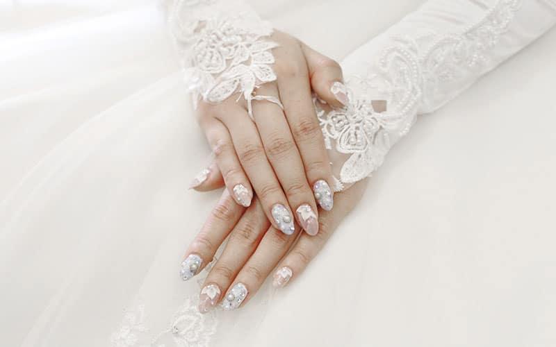 مدل ناخن سفید عروس