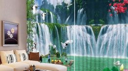 پرده با عکس آبشار مناسب منزل