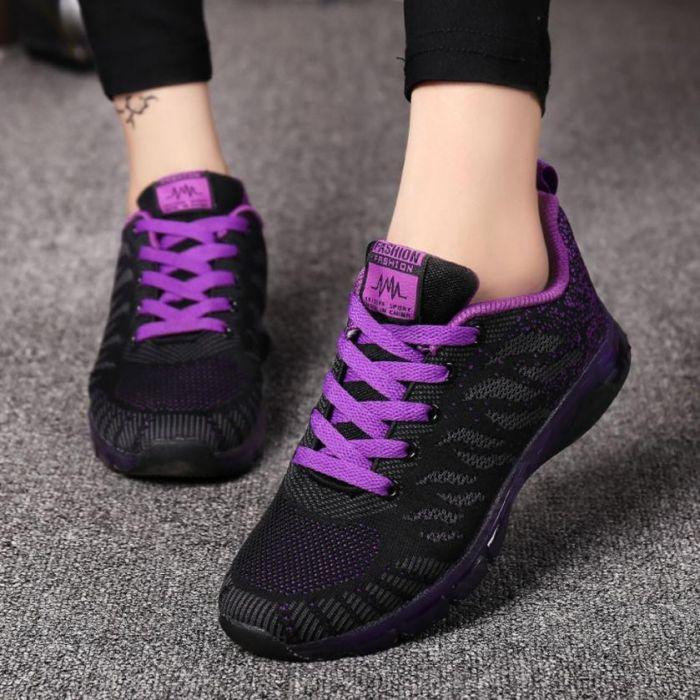 کفش مشکی رنگ زیبا با بند بنفش زنانه و دخترانه 2020