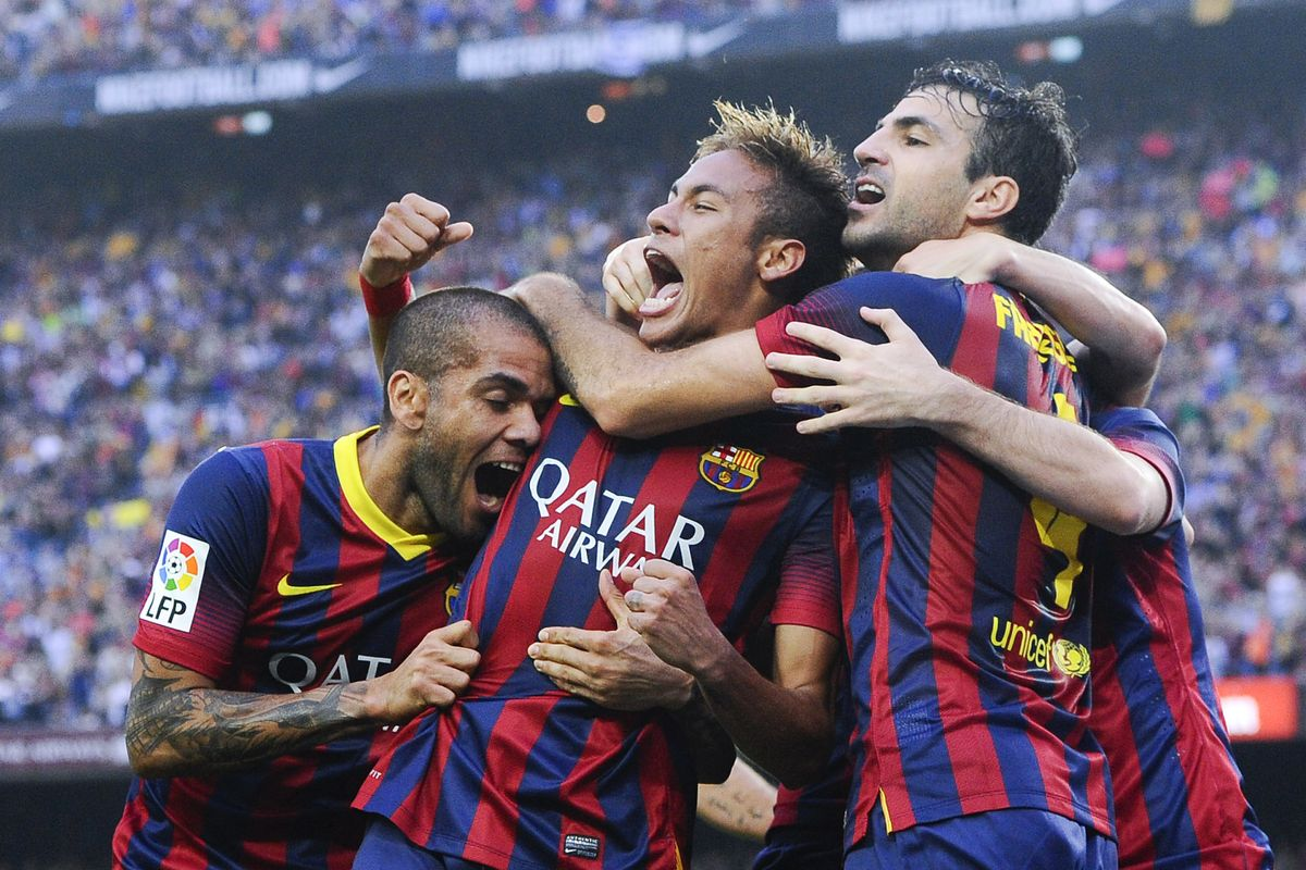 خوشحالی پس از گل برزیلی های بارسلونا 2013