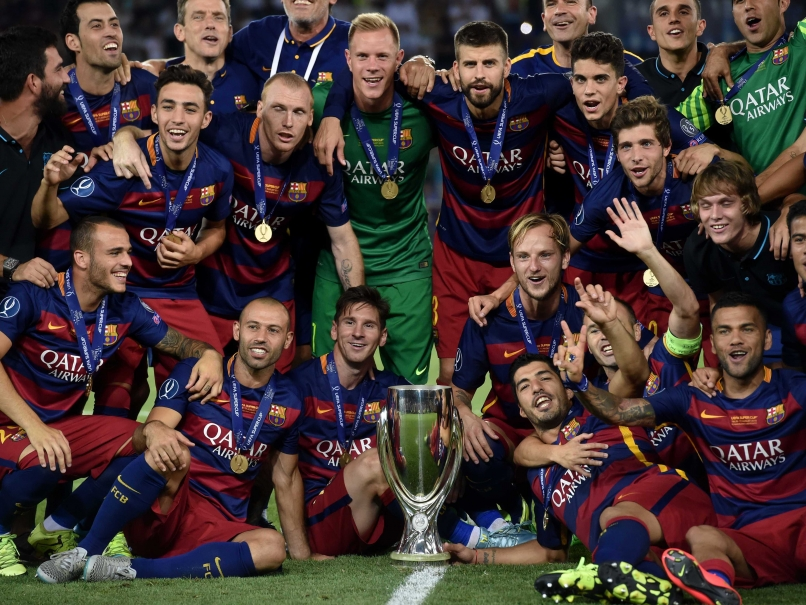جشن قهرمانی بارسلونا در سال 2015 در لیگ قهرمانان اروپا