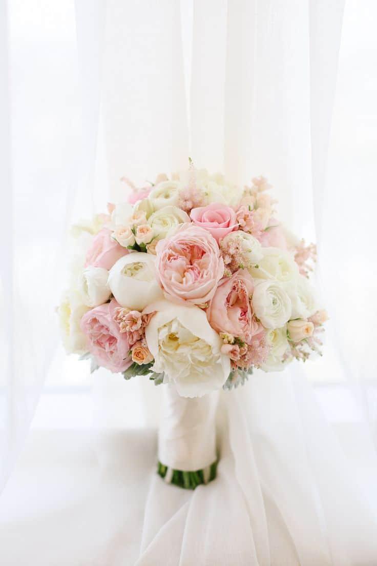 دسته گل لایت عروسی سفید و صورتی 2020