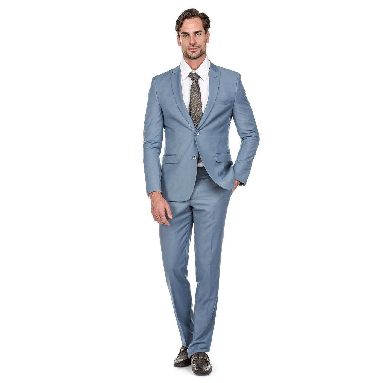 مدل کت و شلوار آبی رنگ سال 99 پسرانه با کراوات قهوه ای