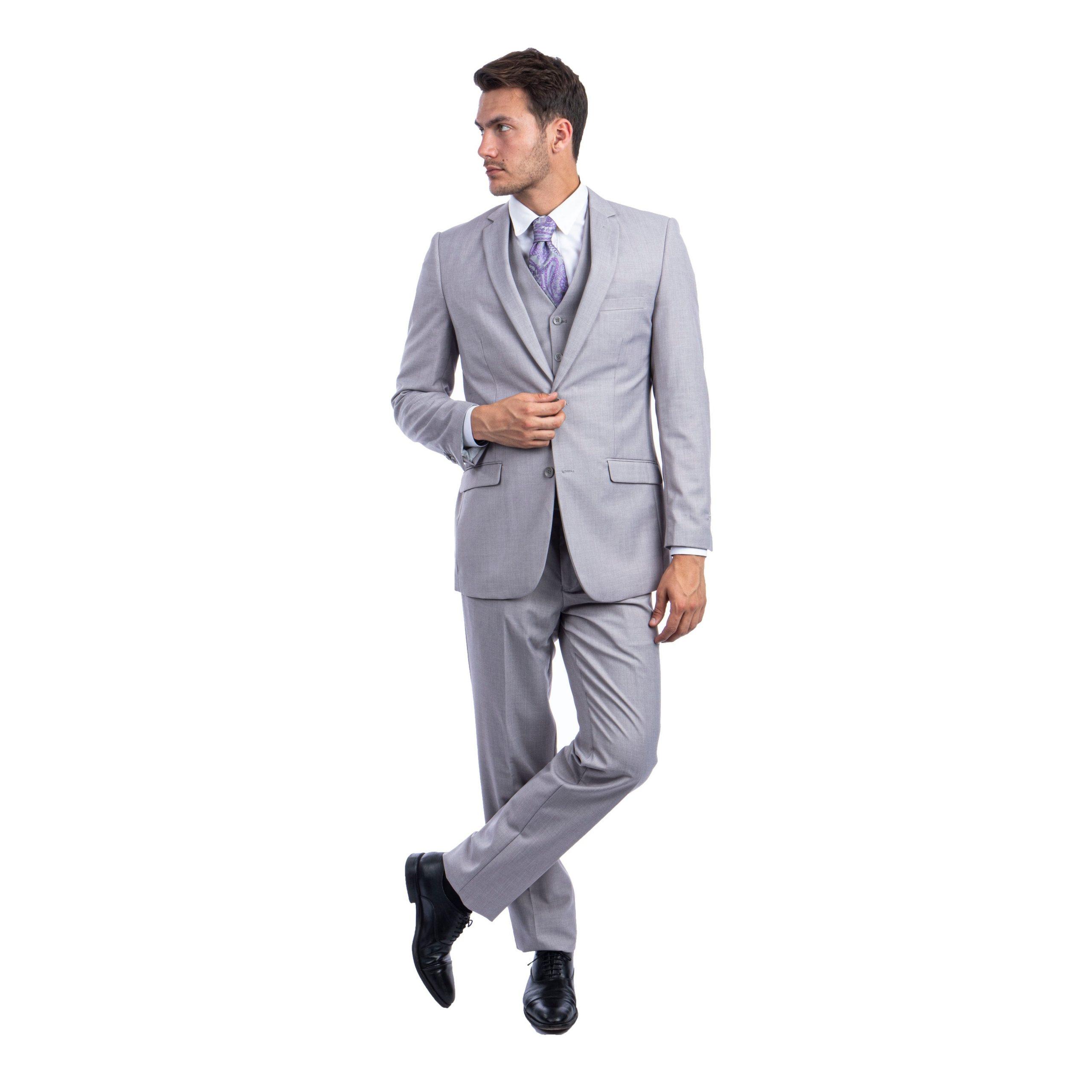 کت و شلوار خاکستری با کراوات خا و کفش مشکی مناسب عید 99