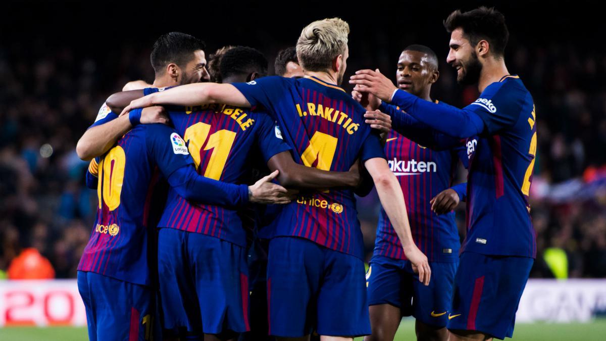 شادی بعد از گل در سال 2017 بارسلونا