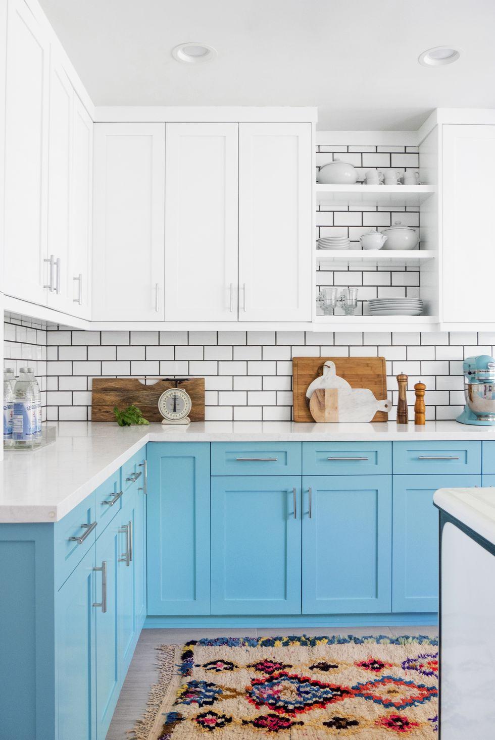 آشپزخانه تم سفید و آبی 2020