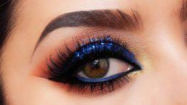 آرایش چشم دیدنی آبی تیره و قرمز دیدنی ۹۹