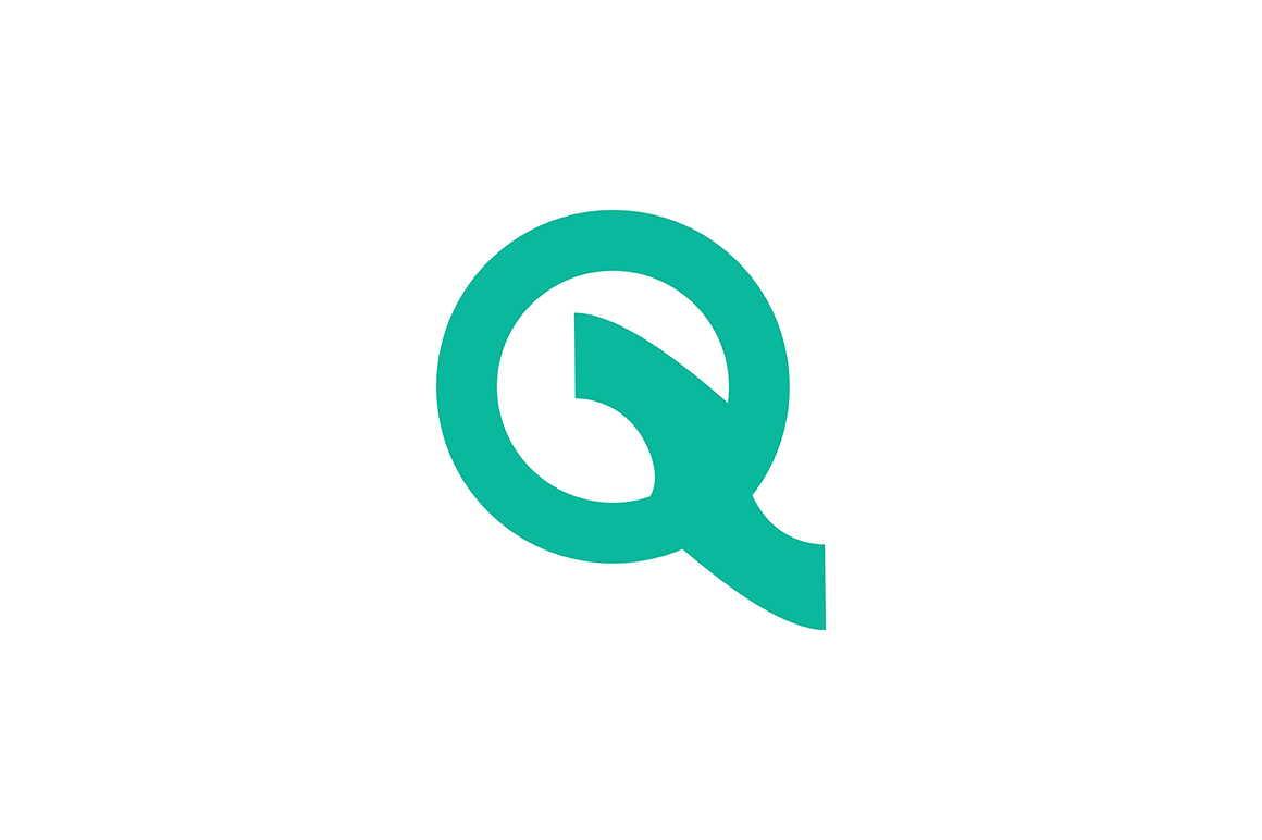 عکس حرف Q با رنگ سبز به شکل عجیب غریب