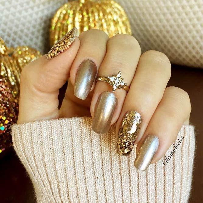 مدل شیک و ساده لاک طلایی رنگ