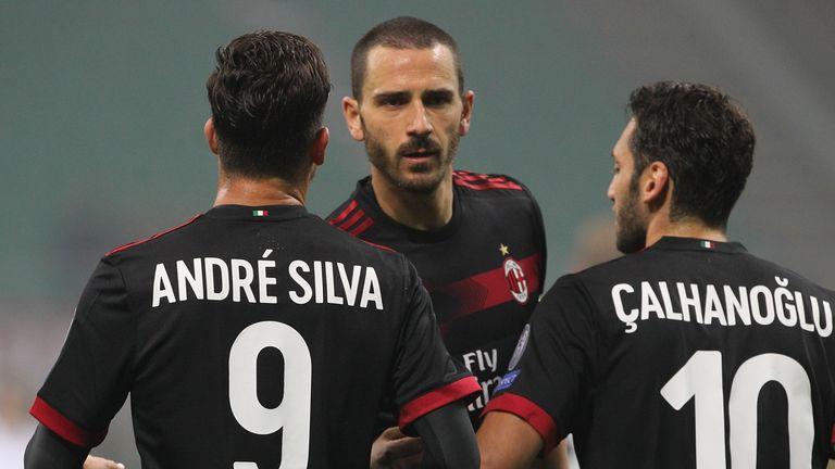 بازیکنان میلان با کیت دوم در سال 2017 سری آ ایتالیا