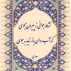 عکس نوشته شعر سعدی نشاط جوانی ز پیران مجوی