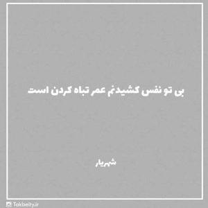 عکس نوشته شعر شهریار بی تو نفس کشیدنم عمر تباه کردن است