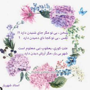 عکس نوشته شعر شهریار سخن بی تو مگر جای شنیدن دارد