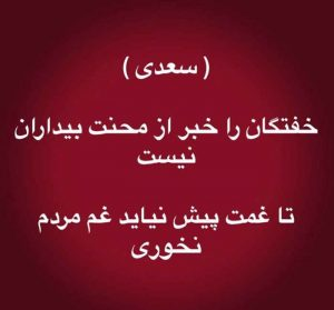 عکس پروفایل شعر خفتگان را خبر از محنت بیداران نیست سعدی