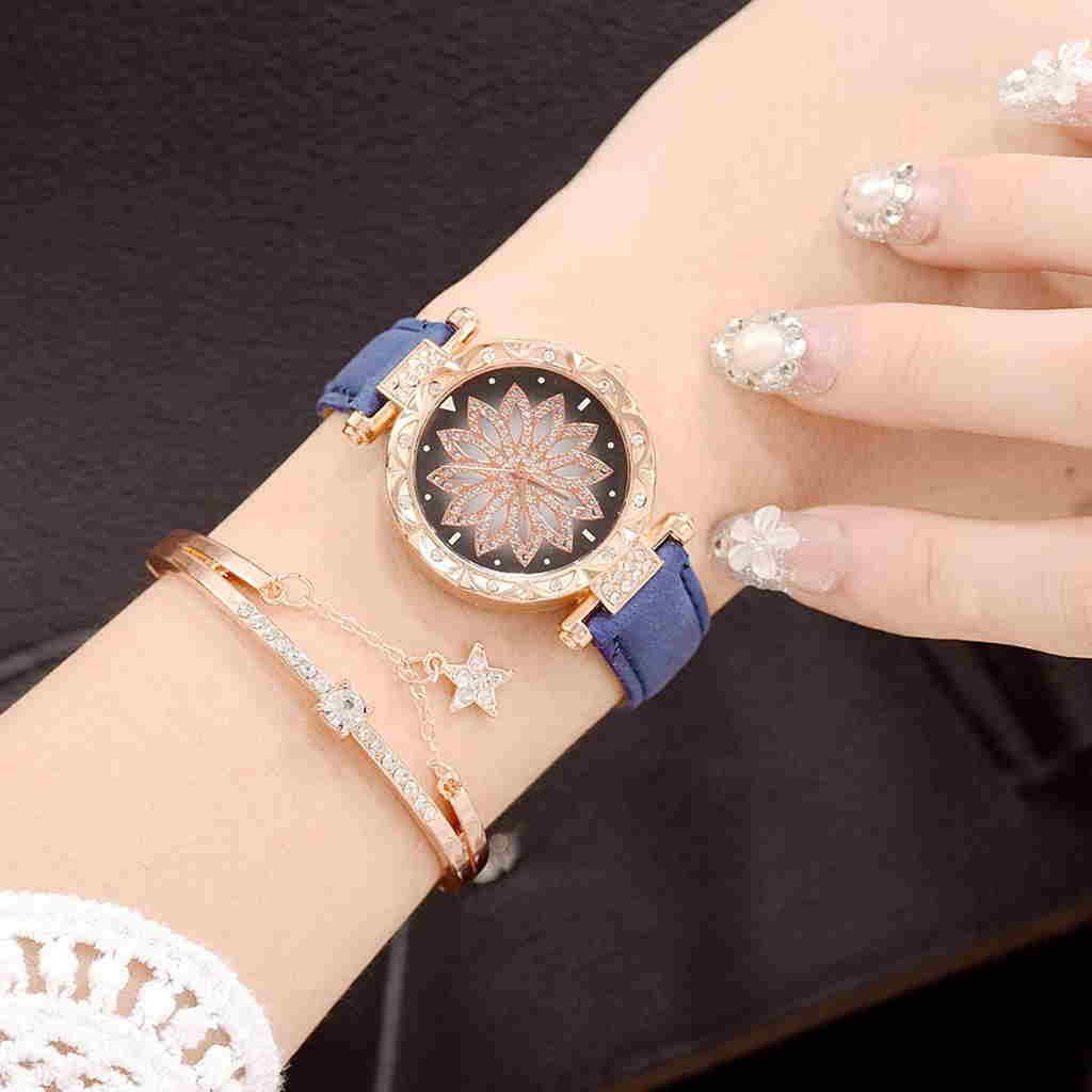پروفایل ساعت طلایی دیدنی با دست بند آبی رنگ و شیک