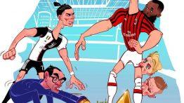 کاریکاتور کامبک میلان در بازی با یوونتوس با هنرنمایی زلاتان