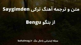 متن و ترجمه آهنگ ترکی Saygimden از بنگو Bengu